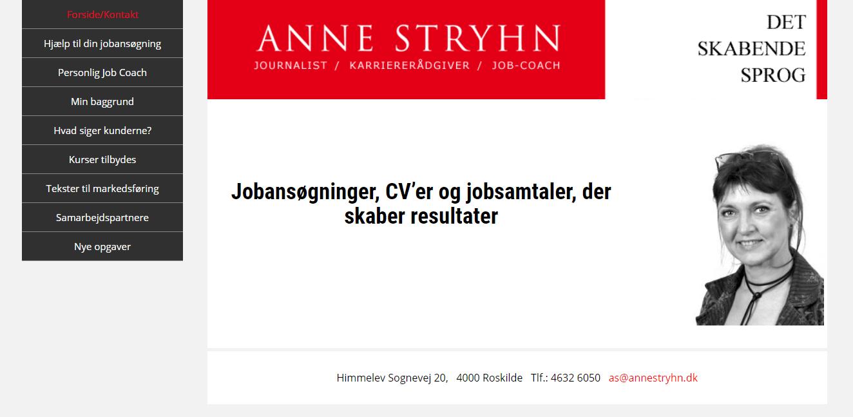 Anne Stryhn hjemmeside